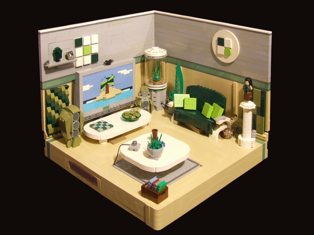 Room with a view of paradise in lego - Lego house interior ...