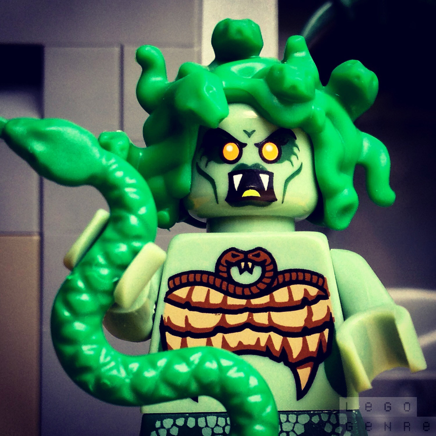 "LegoGenre: ""Hello. I'm Medusa. Want to be friends? …I brought you a snake… DON'T LOOK AT ME!"""