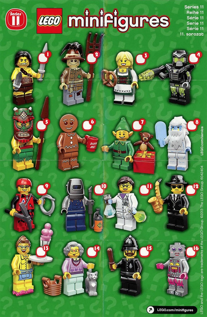 Lego Minifigures Series 11 Details from Brickset