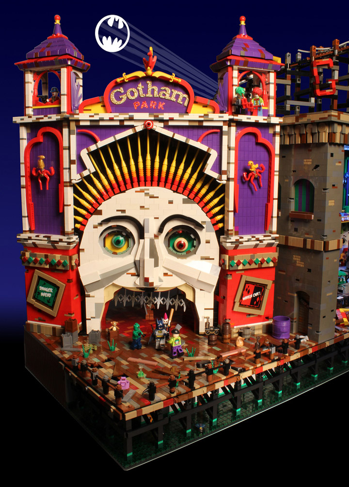 Brickbaron's Lego Batman and Robin, Joker's Funhouse, Gotham Park