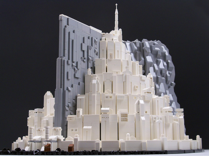 a gleaming lotr lego minas tirith in micro scale