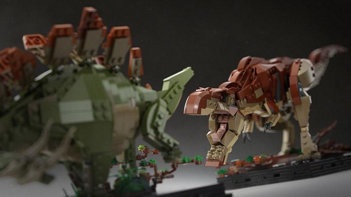 senteosan's Bricksauria Trex vs Stegosaurus