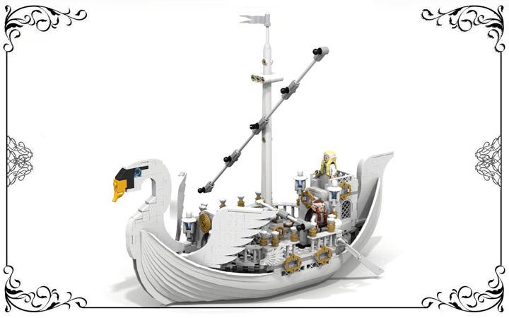 reekardoo's Lego LOTR, Lothlorien Swan Ship, No Sail