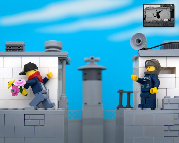TheBrickFantastic Lego Banksy, Bouquet Thrower
