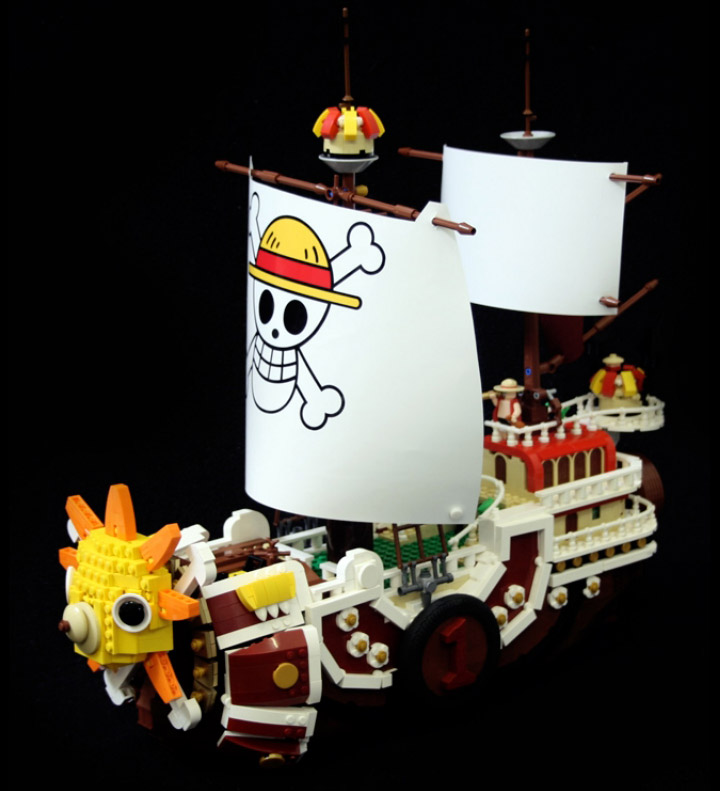 Alex Jones's Lego One Piece Thousand Sunny Black Background