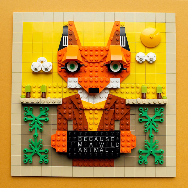 Hilary Leung's Fantastic Mr. Fox Lego Painting