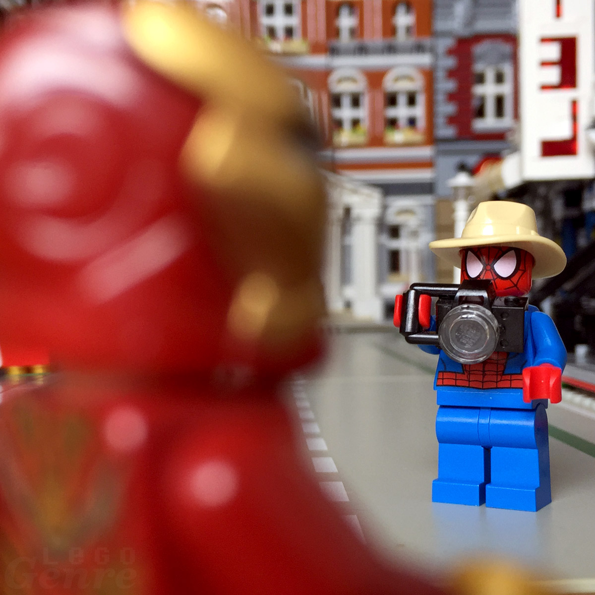"LegoGenre: ""Iron Man! Can I get your picture for the paper?"""