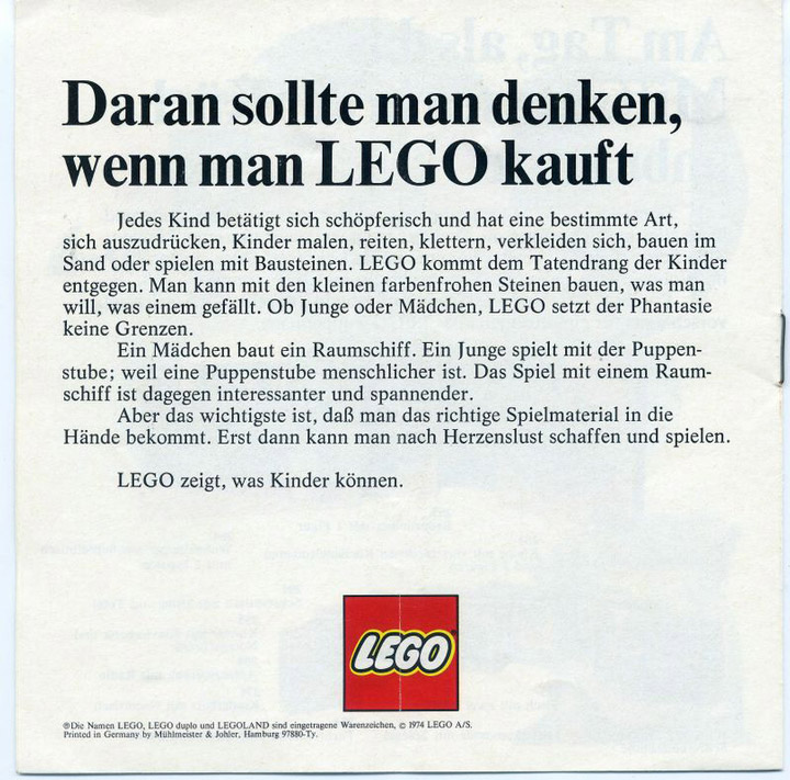Lego Note to Parents 1974 German
