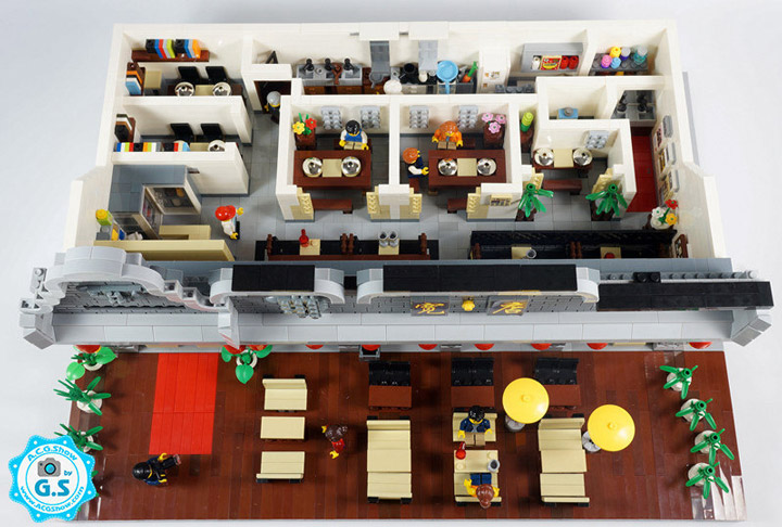 qian yj Lego Chinese Architecture Restaurant Interior