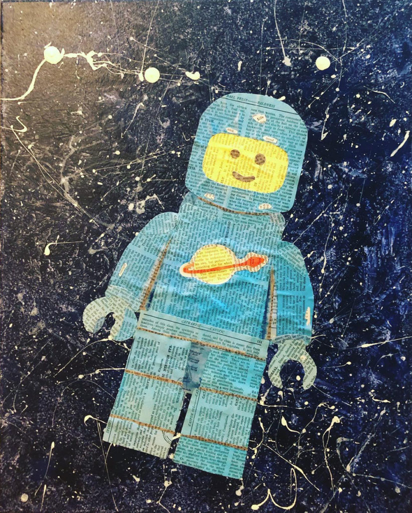 Draganpopart Lego Art Collage Blue Spaceman
