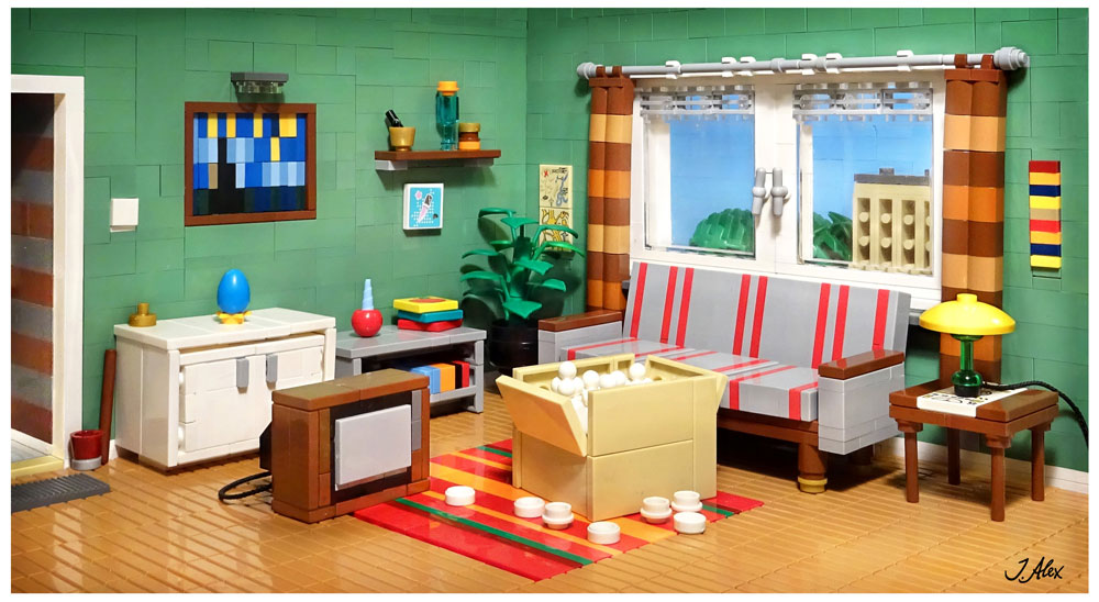 """A family has bought a new TV during the 70s"" Lego MOC"