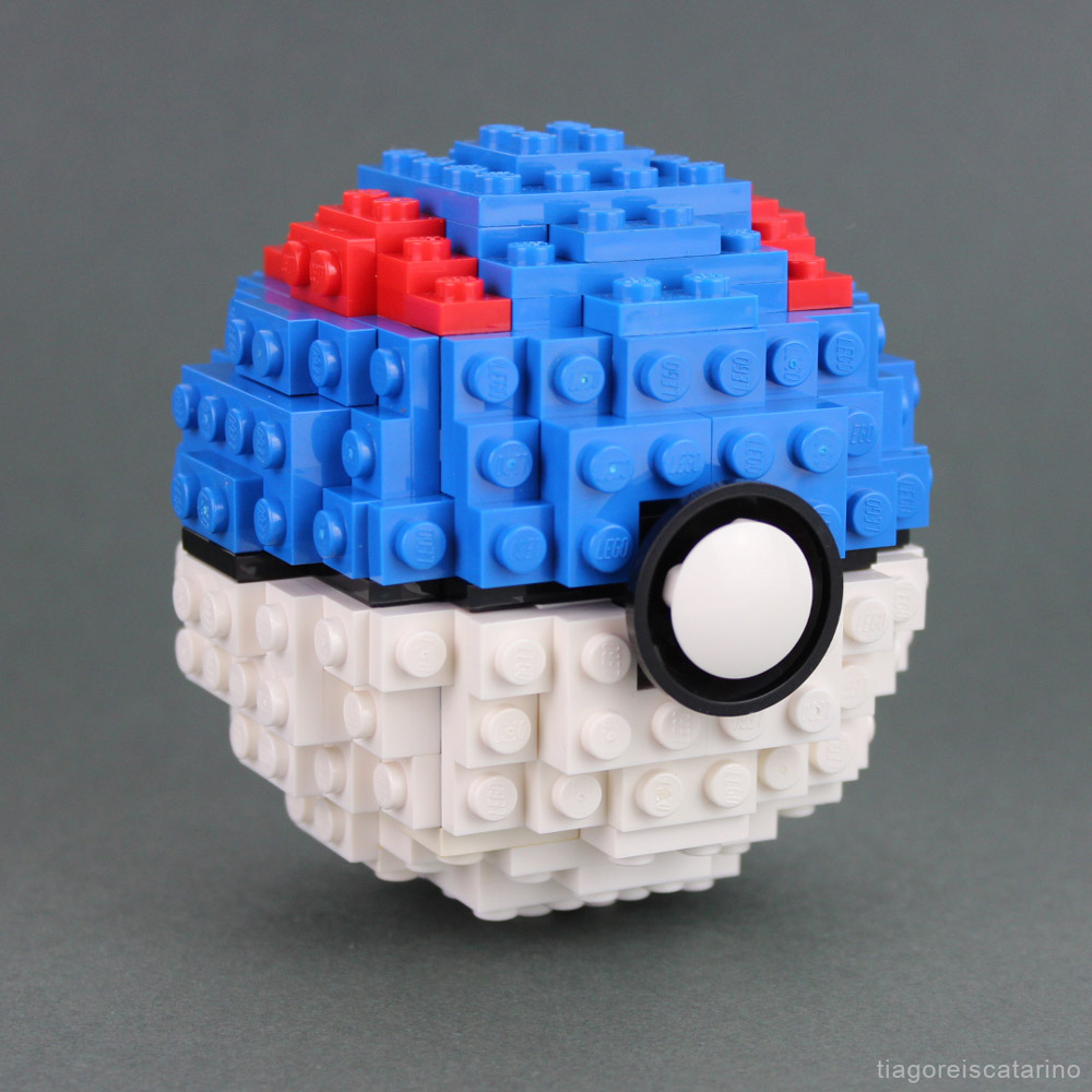 How To Build A Lego Poké Ball (Great Ball Version) - Instructions Video