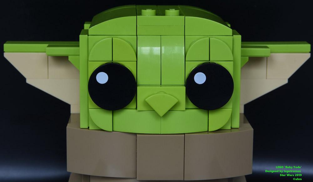 A Super Cute Baby Yoda Made Of Lego Cute Head