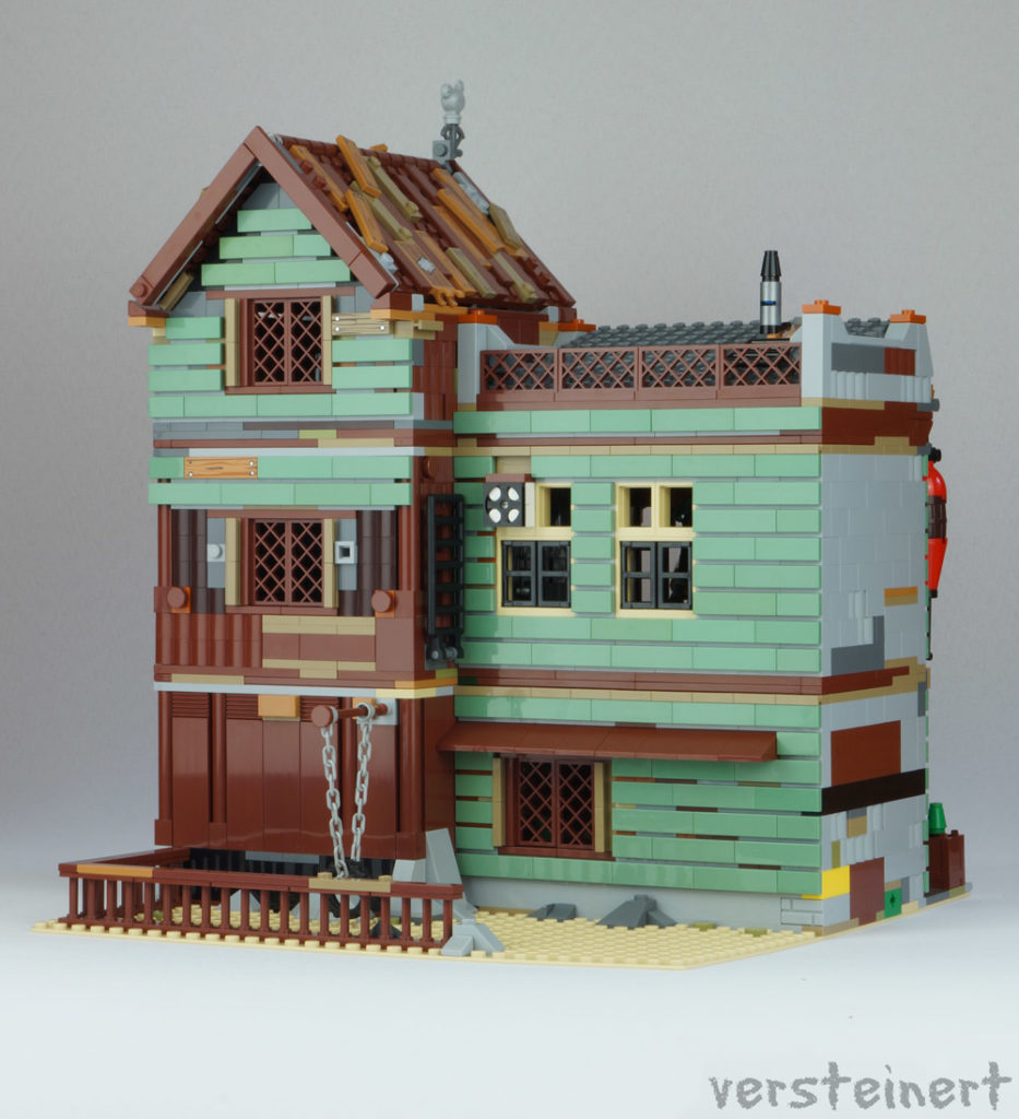 The Modular Lego Bait Shop And Grocery Rear - An Alternate Old Fishing Store