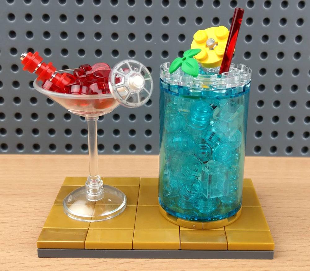 A Lego Cherry Martini and Blue Long Island Iced Tea