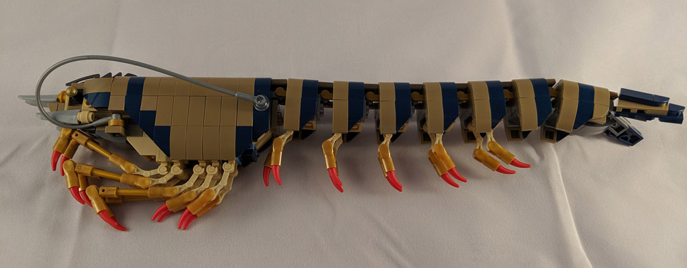 A Giant Tiger Prawn Made Out Of Lego Opened