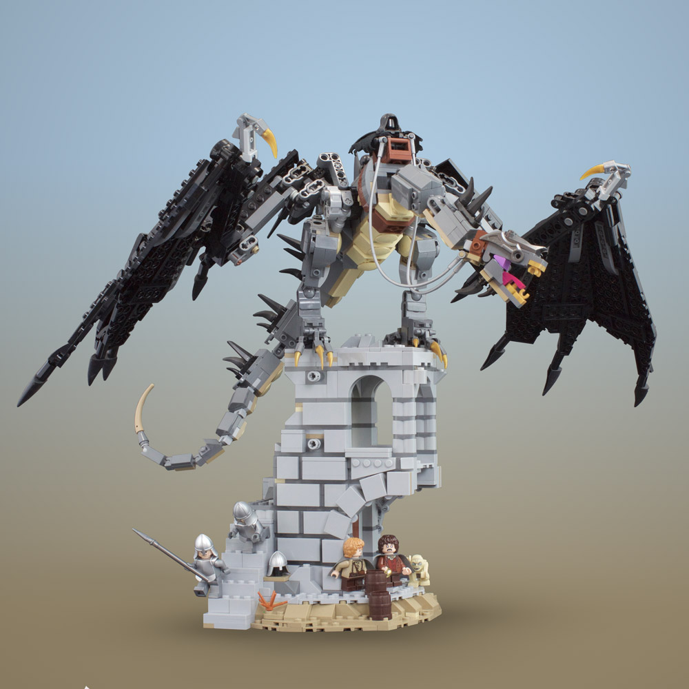A Lego Fell Beast Is Hunting Hobbits, The Lord of the Rings, Osgiliath