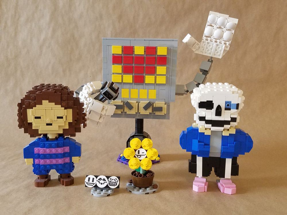 Lego Builds Of Frisk, Mettaton, Flowey, and Sans From Undertale