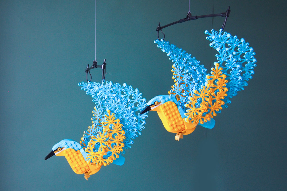 Flying Through The Sky With Two Lego Birds