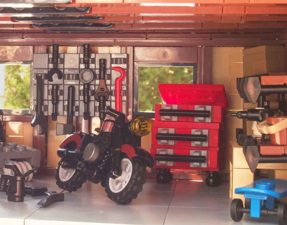 A Place To Keep All Your Tools: A Lego Garage Detail.