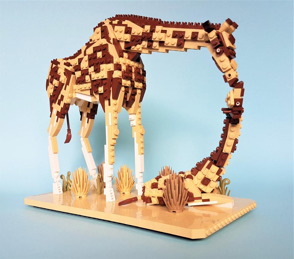 A Nurturing Mother Giraffe, And Calf — Lego MOC