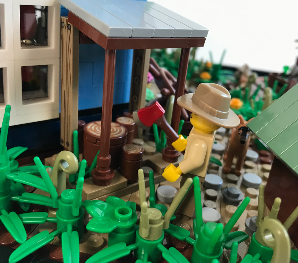 A Relaxing Weekend At The Fishing Cabin, Lego MOC, The Woodcutter