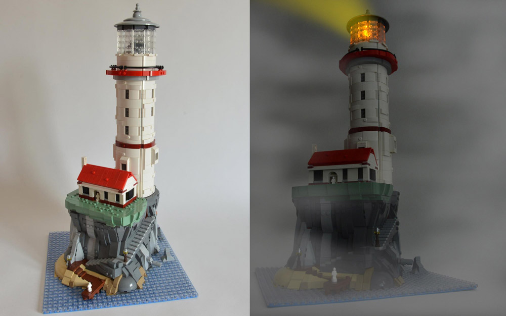 A Motorized Lego Lighthouse, Day and Night