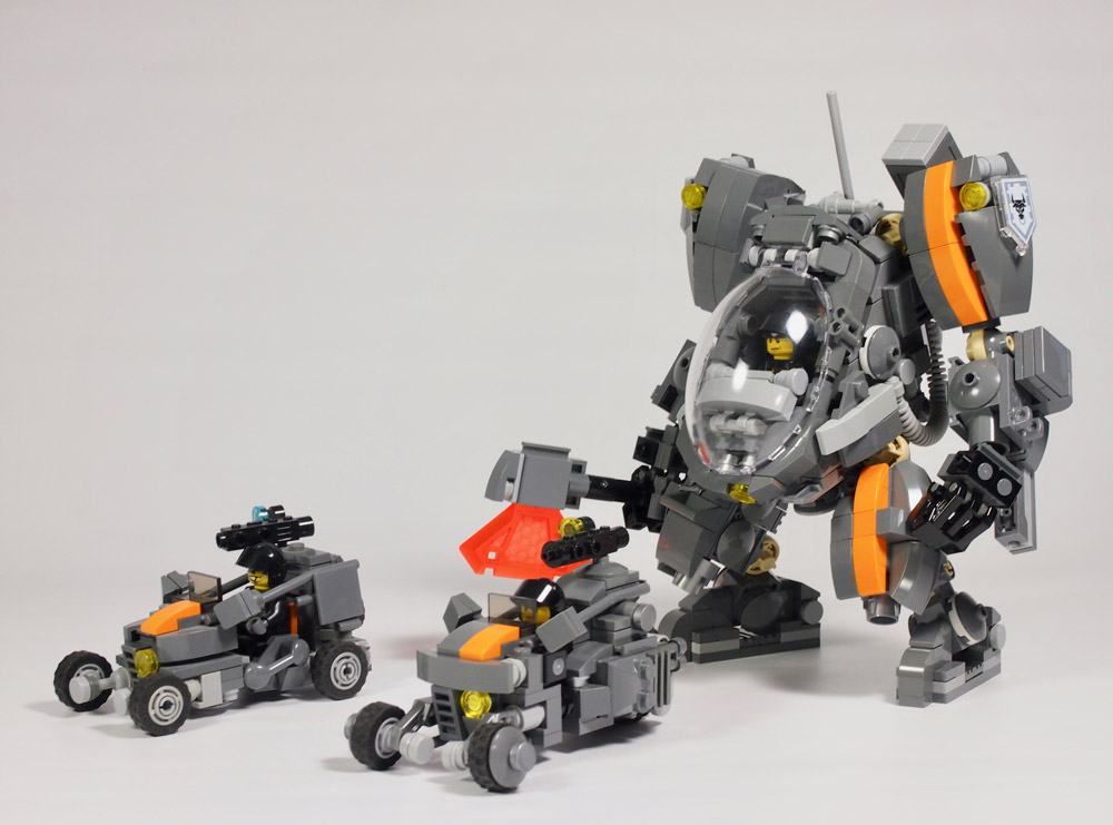 This Lego Mecha Comes With Backup - With Cars