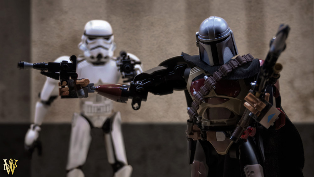 The Mandalorian Lego Figure, Din Djarin and Stormtrooper