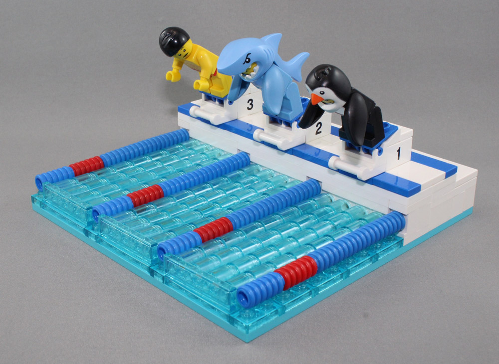 Shark vs. Penguin vs. Human At The Swim Meet, Lego MOC