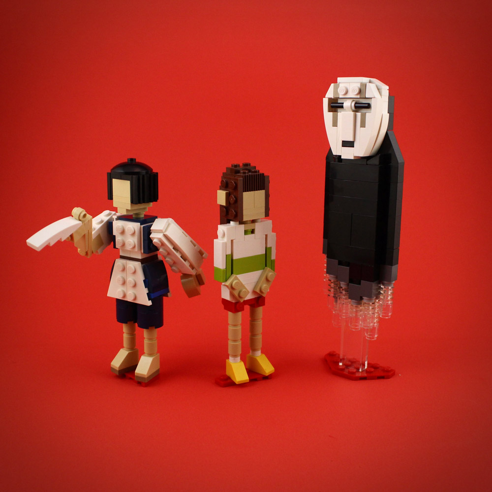 Haku, Chihiro, and No-face — Spirited Away Lego Figures