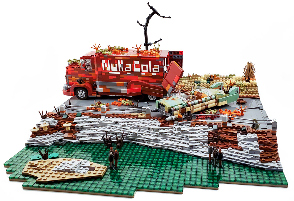 Zap that thirst! With This Nuka Cola Wasteland Lego Build. Delivery Truck.