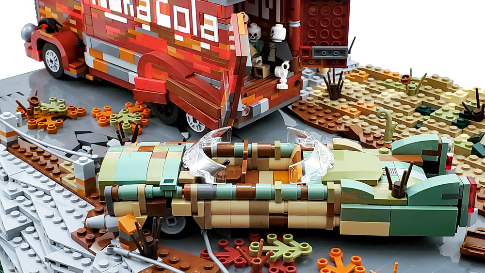 Zap that thirst! With This Nuka Cola Wasteland Lego Build. Car Detail.