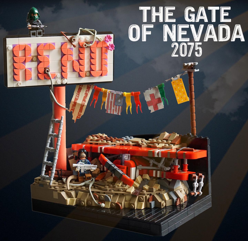 The Post Apocalypse In Reno. The Gate Of Nevada 2075 Lego MOC.