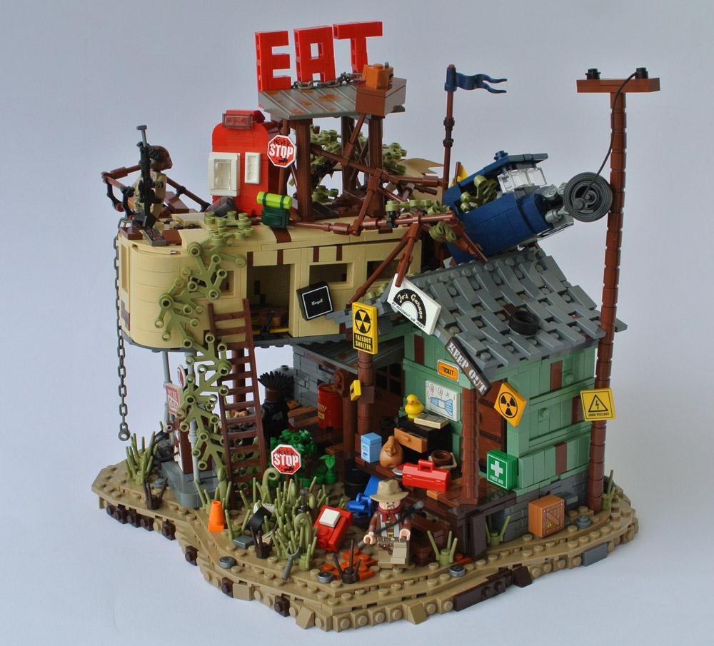 Stop And Eat At This Post Apocalyptic Gas Station, Lego MOC